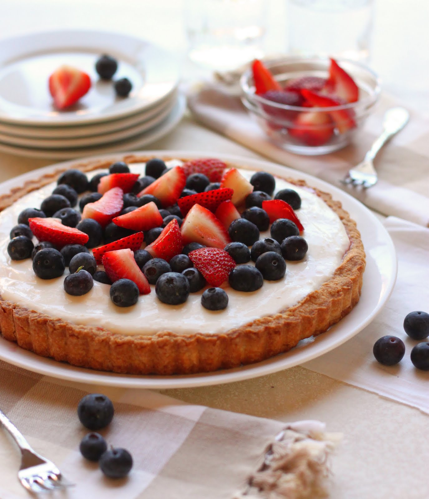 Strawberry-Blueberry Tart Recipe — Dishmaps